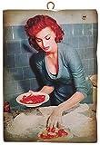 KUSTOM ART Cuadro de estilo vintage con los famosos «Sofia Loren» de «Formula» de «Pizzer», impresión sobre madera, para decoración de restaurantes, pizzerías, bares, hoteles, etc.