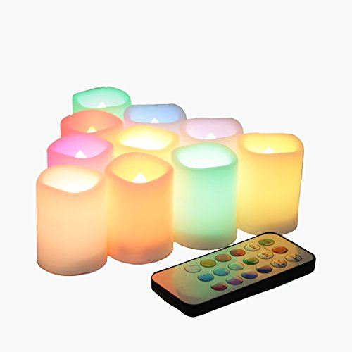 10 PCS Colored Flameless Flickering Remote Control Led Votive Tea Light Timer Candles/ Color Changing Battery Operated LED Fake Candle for Outdoor Halloween Pumpkin Light Christmas Decorations