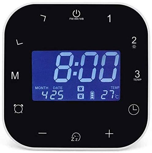 NCRD Reloj de Alarma Digital, Pantalla LCD, Tiempo de visualización Grande/Fecha/Alarma con Snooze, Reloj de alojamiento de Forma Manual.