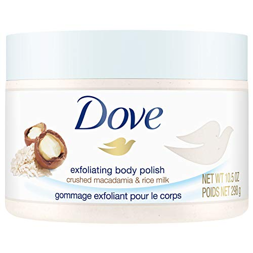 Dove Exfoliating Body Scrub To Help Revive Dry, Dull Skin Macadamia & Rice Milk Polishes and Nourishes Your Skin 10.5 oz