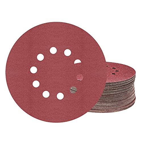 KONGMING Discos de lijado de 225 mm, 25 piezas de discos de lijado redondos de 10 orificios de grano P100, para lijadoras de cuello largo, esmeriladoras de paneles de yeso y pulidoras de jirafas.