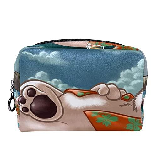 Trousse de Maquillage Voyage Maquillage Case Cosmetic Case Professional Portable Bear Polar Hammock Beach Organisateur et Rangement pour Porte-pinceaux de Maquillage