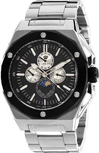 LOUIS XVI Herren-Armbanduhr Le Souverain Stahlband Silber Mondphase Analog Quarz Edelstahl 957