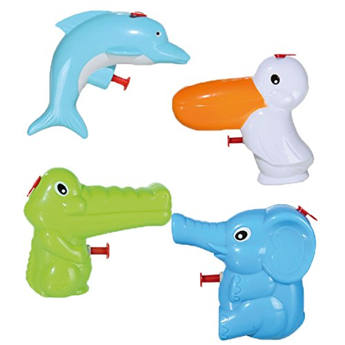 Bada Bing 4er Set Wasserpistole Tiere Für Kleinkinder Süß Spritzpistole Kindgerecht Wasserspritze Pelikan Elefant Delfin Krokodil 92