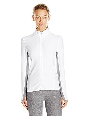 Calvin Klein Women's Long Sleeve Honeycomb Mesh Jacket, White, X-Small