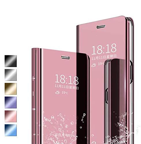 Jierich Funda para Xiaomi Mi 11 Carcasa, Ultra Slim Espejo Funda Flip Inteligente, Soporte Plegable, [Anti-Rasguños] Case Cover para Xiaomi Mi 11-Oro Rosa