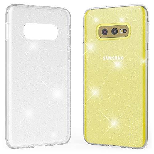 Kaliroo Handyhülle Glitzer kompatibel mit Samsung Galaxy S10E, Durchsichtige Diamant Hülle Silikon Schutzhülle Glitter Hülle, Ultra-Slim Cover Bling Handy-Tasche Strass Backcover Bumper - Transparent