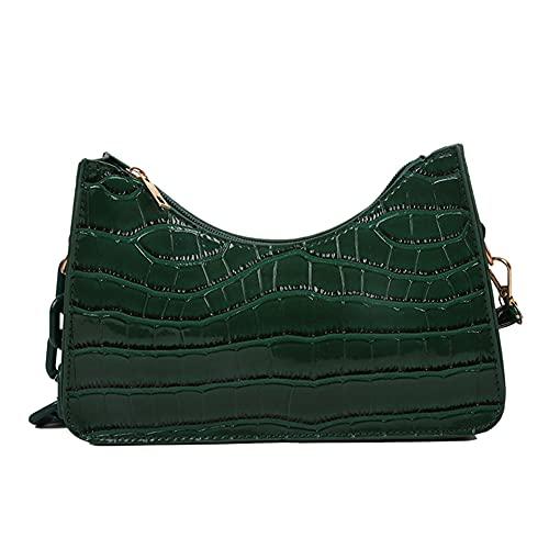 HAOXIU Bolso pequeño para mujer, portátil, con un hombro, retro, color sólido, patrón de piedra, poliuretano, 23 x 15 x 6 cm, estilo casual, verde, 23*15*6cm