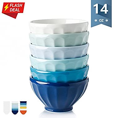 Sweese 1120 Porcelain Fluted Latte Bowl Set - 14 Ounce Stable and Deep - Microwavable Bowls for Dessert, Ice Cream - Set of 6, Cold Assorted Colors