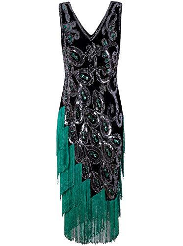Vijiv Damen Vintage 1920er Jahre Stil Perlen Flapper-Kleid inspiriert Downton Abbey Gatsby Kleid Klein Grün