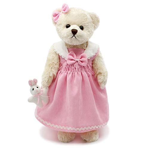 Oitscute Teddy Bears Baby Cute Soft Plush Stuffed Animal Toy for Girl Women 16' (White Bear Wearing Pink Corduroy Dress)