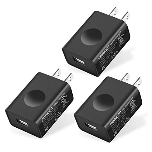 USB Wall Charger, FONKEN 3-Pack 5V 2A Power Adapter Universal Travel Charger USB Plug Cell Phone Charger Block Cube Compatible with iPhone, iPad, Google Nexus, Samsung, LG, HTC, Moto, Kindle and More