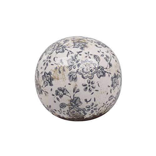 L'Héritier Du Temps Magnifique Petite Boule Décorative Sphère Objet Déco à Poser en Terre Cuite Emaillée Blanche Motif Floral Bleu Ø10cm