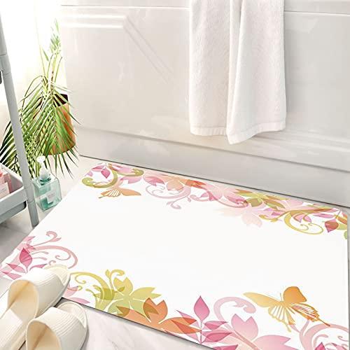 Alfombra de baño, Alfombra Absorbente Antideslizante, Pastel, guirnalda floral de primavera Patrón de hojas de mariposas de flores , Alfombra de baño de Microfibra esponjosa, avable a máquina 50x80 cm