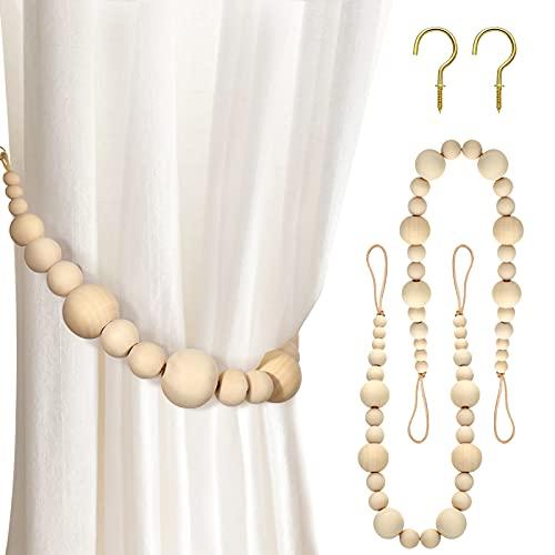 Jetec Natural Wood Beaded Tiebacks Farmhouse Beads Tieback Boho Curtain Holdback Beaded Wood Curtain Tie Back Beaded Curtain Holder Curtain Rope Tie Curtain Drape Tie for Drapes Home Decor (2)