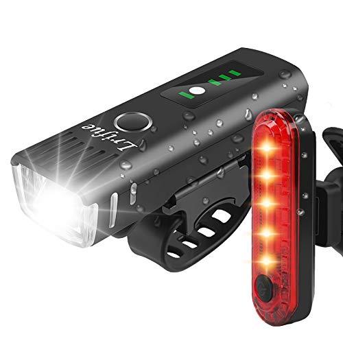 【2021最新進化版】LRIFUE 自転車 ライト 小型 IPX6防水 防災 停電 緊急対応 地震対策 登山 夜釣り用 バッテリーインジケーター サイクルライト bike light 夜間 キャンプ ハイキング サイクリング 高輝度 USB充電式 LED