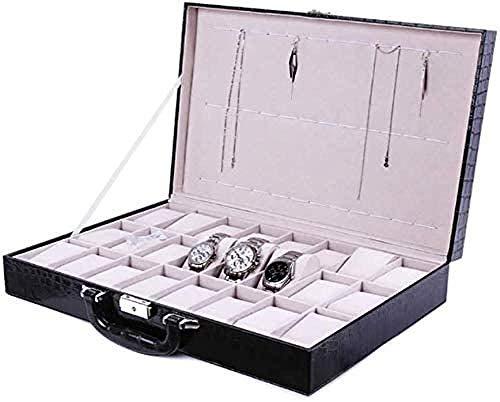 Caja de reloj de 24 bits, caja de visualización de reloj, caja de almacenamiento de joyas, portátil, portátil y práctico