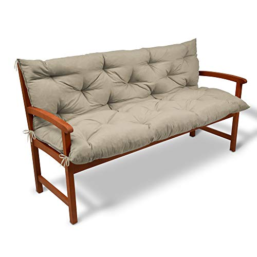 Beautissu Coussin pour Banc de Jardin, terrasse, Balcon - balancelle - Banquette - Assise Confortable - 100x50x50 cm - Nature