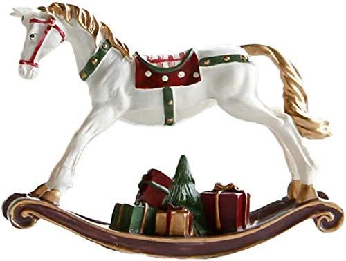 JJDSN Caballo Mecedora Estatua Coleccionable Figuras de Animales en Miniatura Adornos Modelo Hadas Decoraciones de jardín Animal Fiesta favores Regalos L