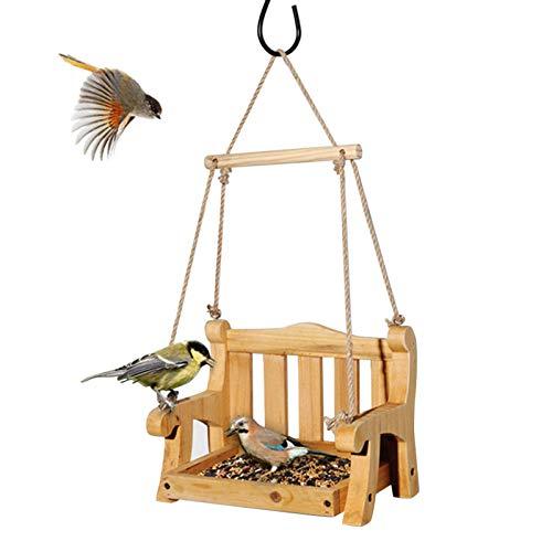 Silla Columpio Comedero para Pájaros Columpio para Jardín Columpio para Pájaros, Banco Comedero para Pájaros De Madera Esenciales para Pájaros Silvestres, Comedero para Pájaros Decorativo Porc