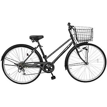 自転車 ママチャリ 27インチ 6段変速ギア LED オートライト ブラック 黒 ラングリッター かご ライト 鍵 標準搭載
