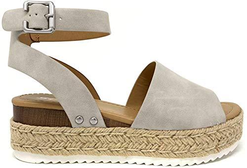 SODA Topic Topshoe Avenue Women's Open Toe Ankle Strap Espadrille Sandal (10 M US, Grey New)