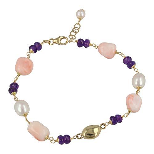 Gioiello Italiano - Bracciale'Joia' in oro giallo 18kt con corallo rosa e perle naturali, lunghezza 18+2cm, da donna