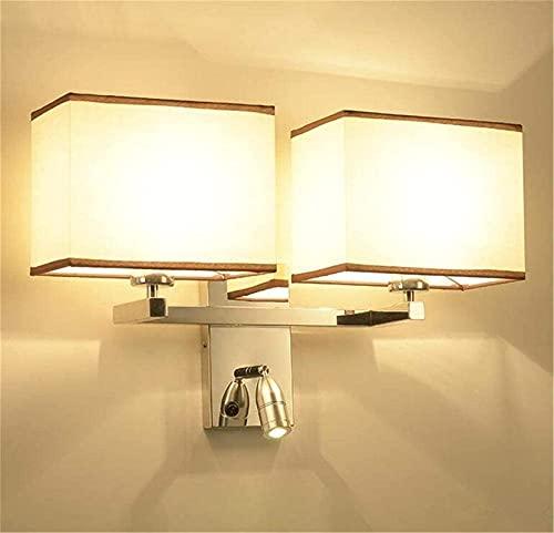 Aplique de pared interior Lámpara de pared de acero inoxidable de doble cabezal Aplique de pared de hotel para sala de estar Dormitorio Pasillo de noche con interruptor de foco de lectura LED ajustabl
