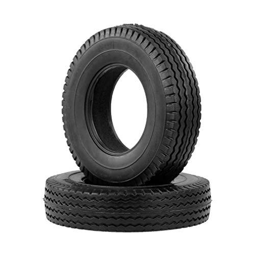 KangKangPL 2pcs de Goma del neumático for Simulado 1/14 Camión de Control Remoto Modelo reemplazable Actualiza Accesorios para Coche de Juguete Modelo de camión (Color : Black)