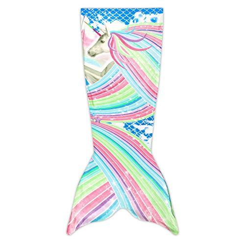 Manta Sirena para Niñas,Saco de Dormir de Sirena Cálida Súper Suave,Cola de Sirena,Regalos par Niños (130 cm * 48 cm)