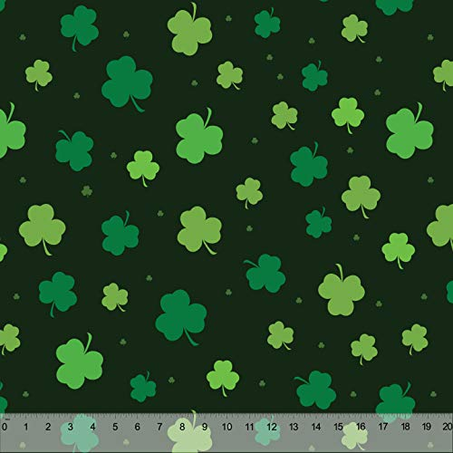 Spring Designs Milliken Fabric 60' Wide Sold by The Yard (Tossed Shamrocks Deep Forest Green)