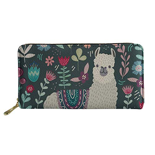 Showudesigns Llama Flower Women Wallet with Coin Pocket Alpaca Print Ladies Long Clutch Wallet U Leather Travel Purse Card Holder Animal