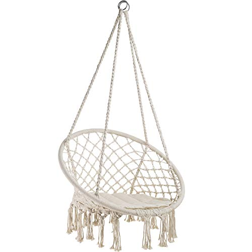 TecTake 800689 Hängesessel zum Aufhängen, inkl. bequemes Sitzkissen, max. 100 kg belastbar, für draußen und drinnen geeignet - Diverse Farben - (Beige | Nr. 403117)