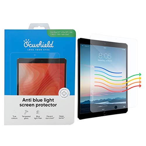Ocushield Anti Blue Light Screen Protector for 9.7' Apple iPad, iPad Air/Air 2, iPad Pro (1st Gen) - Blue Light Filter for iPad Eye Protection - Accredited Medical Device - Anti-Glare