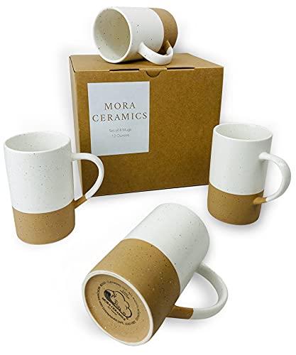 Mora Ceramics 12oz Coffee Mug Set of 4 - Ceramic Tea Cups with Handle - Microwave and Dishwasher Safe, Perfect For Cup or Mug Lovers - Rustic Matte Glaze, Modern Design Mugs - Petro