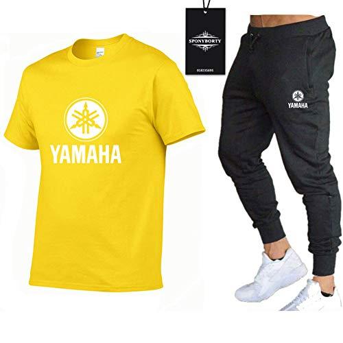 Jasmin Busse Conjunto de Chándal de Dos Piezas para Yam-ah.a.s Adecuados Mangas Corto a Rayas + Pantalones Largo para Hombre y Mujer Y/Amarillo/XL
