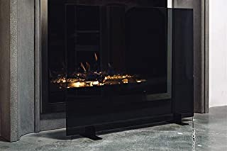 Midnight Modern Free Standing Glass Fireplace Screen (Black Glass with Black Feet) (Small (36