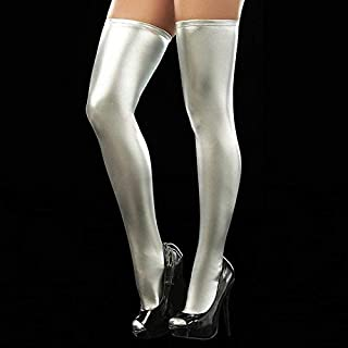 Socks Sexy Women Over Knee Thigh High Tights Stockings Long PU Leather Stockings(Yellow) (Color : Silver)