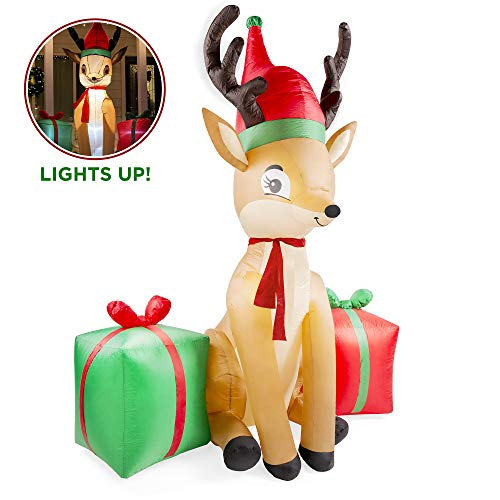 Best Choice Products 8ft Pre-Lit Inflatable Christmas Reindeer & Presents Outdoor Yard Decoration w/Stakes and Ropes