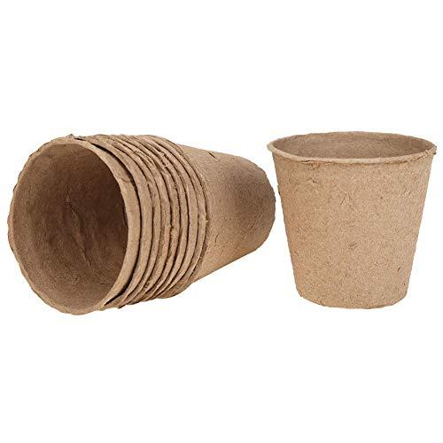Demiawaking Vasi Biodegradabili per Piante Vasi da Coltivazione Vasetti Biodegradabili per Piante Piantine Semi Fiori 8 x 8 cm (10 Pezzi)