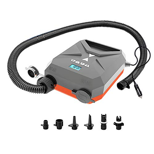 20PSI High Pressure SUP Air Pump, Intelligent Dual Stage Inflation Auto-Off and Deflation with 12V DC Car Connector, Two Different Valve Adapters for Hose for Stand Up Paddle Boards, Kayak Etc, Gray.