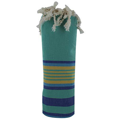 LES POULETTES FUTA Toalla de Playa de Algodón Verde con Rayas Amarillo y Azul