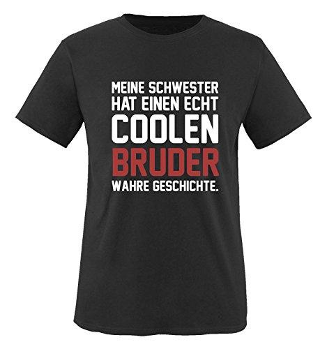 Comedy Shirts - Meine Schwester hat einen echt coolen Bruder wahre Geschichte. - Jungen T-Shirt - Schwarz/Weiss-Rot Gr. 152/164