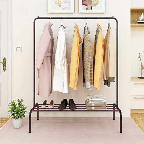 Metal Clothes Rack Heavy Duty Commercial Grade Clothing Garment Free Standing Rack with Top Rod and Lower Storage Shelf for Coat Organizer Laundry Closet Storage Boxes Shoes (Bronze)