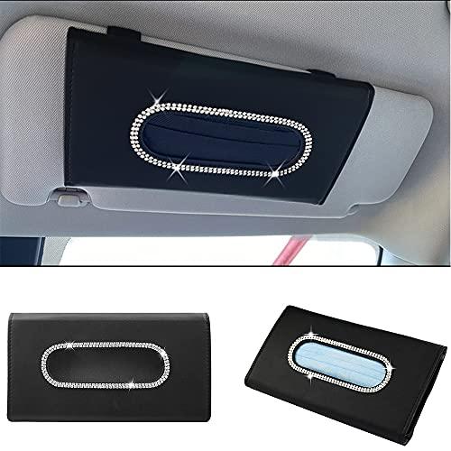 Yijueled Visor Car Mask Holder Car Sun Visor Tissue Holder Bling Car Tissue Box Holder Leather Napkin Holder Universal