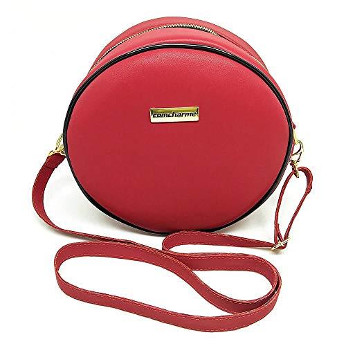 Bolsa Redonda Feminina Lisa Couro Eco Mini Bag Transversal Cor:Vermelho
