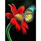 AKmene Pintura de Diamante 5D Mariposa Flor Lienzo preimpreso para la decoración de la Pared del hogar 40x50cm