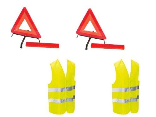 Kit auto sécurite : 2 triangles de signalisation + 2 gilets jaunes EN471