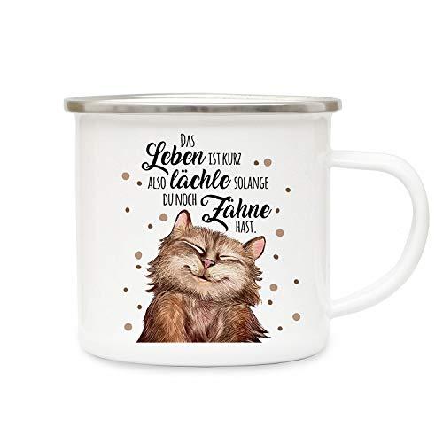 ilka parey wandtattoo-welt Emaillebecher Becher Tasse Camping mit Katze Kater & Spruch lächle Solange du Zähne hast Kaffeetasse Geschenk Spruchbecher eb317