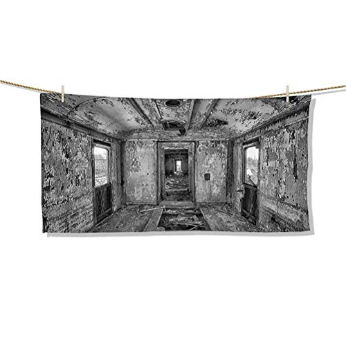 Microfiber Beach Towel, Quick Drying Lightweight Travel Towels Interior of an Antique Aged Railway Wagon Burnt Destruction Picture W32 x L16 Ideal Gift for Women Men,Best Friend